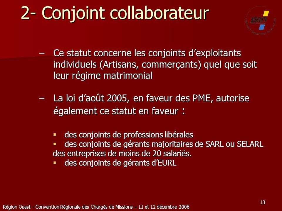 Région Ouest - Convention Régionale des Chargés de Missions – 11 et 12 décembre 2006 13 2- Conjoint collaborateur –Ce statut concerne les conjoints de