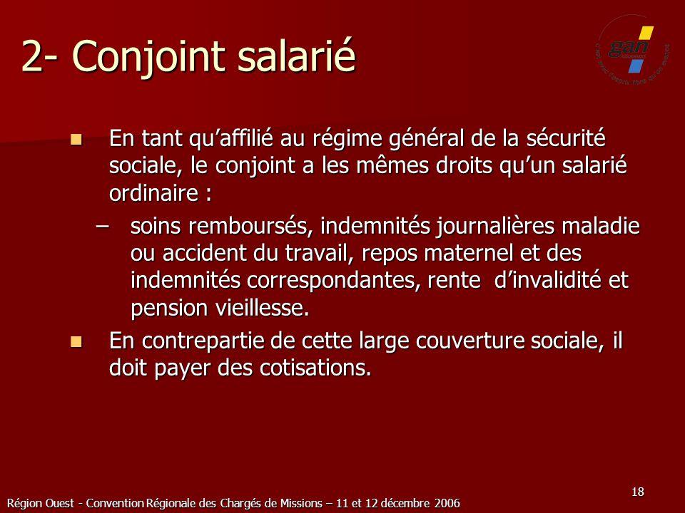 Région Ouest - Convention Régionale des Chargés de Missions – 11 et 12 décembre 2006 18 2- Conjoint salarié En tant quaffilié au régime général de la