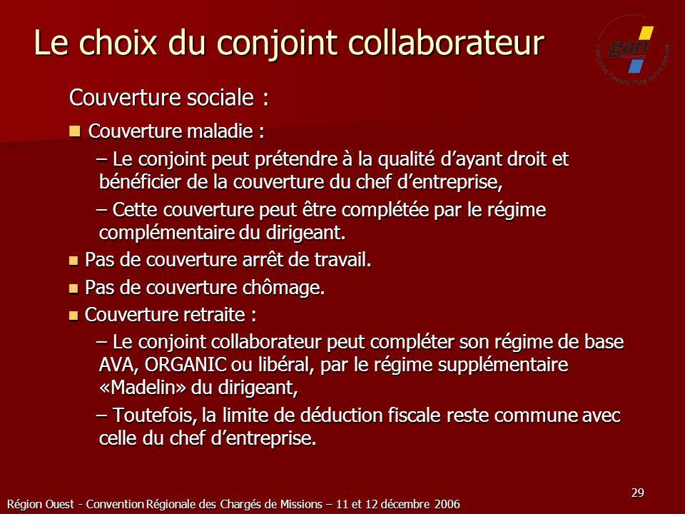 Région Ouest - Convention Régionale des Chargés de Missions – 11 et 12 décembre 2006 29 Le choix du conjoint collaborateur Couverture sociale : Couver