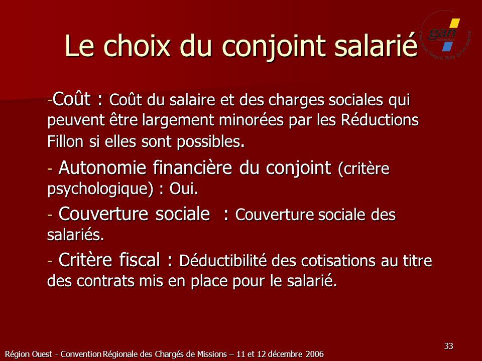 Région Ouest - Convention Régionale des Chargés de Missions – 11 et 12 décembre 2006 33 Le choix du conjoint salarié - Coût : Coût du salaire et des c