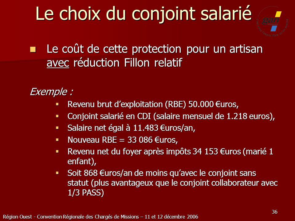 Région Ouest - Convention Régionale des Chargés de Missions – 11 et 12 décembre 2006 36 Le choix du conjoint salarié Le coût de cette protection pour