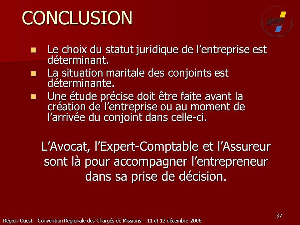 Région Ouest - Convention Régionale des Chargés de Missions – 11 et 12 décembre 2006 37 CONCLUSION Le choix du statut juridique de lentreprise est dét