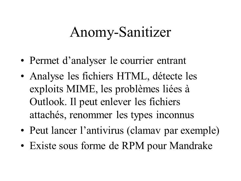 Anomy-Sanitizer Permet danalyser le courrier entrant Analyse les fichiers HTML, détecte les exploits MIME, les problèmes liées à Outlook.