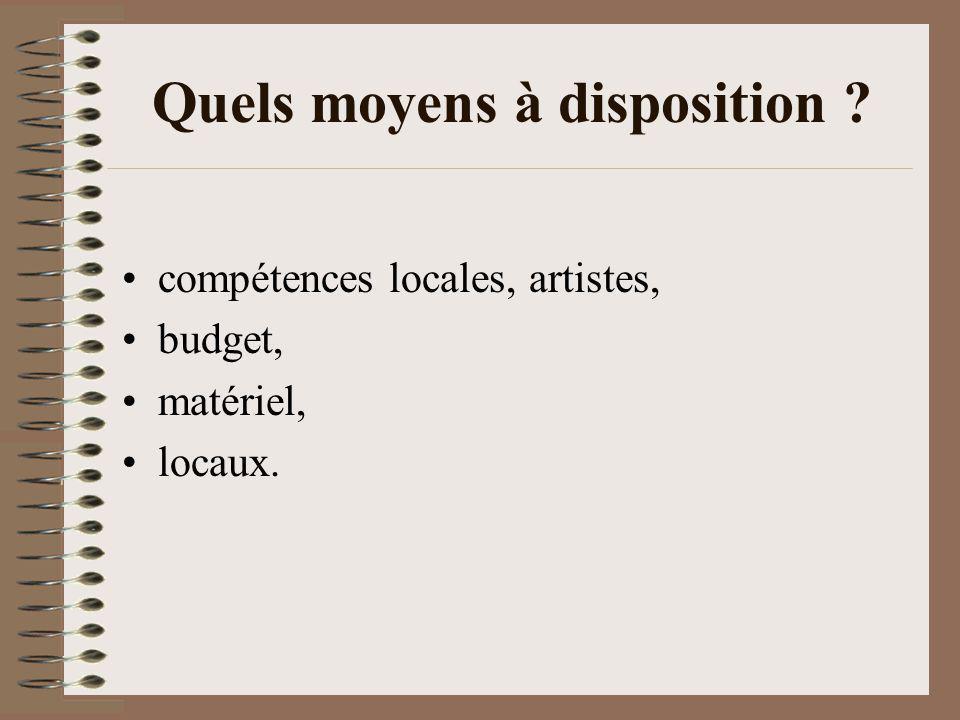 Quels moyens à disposition ? compétences locales, artistes, budget, matériel, locaux.