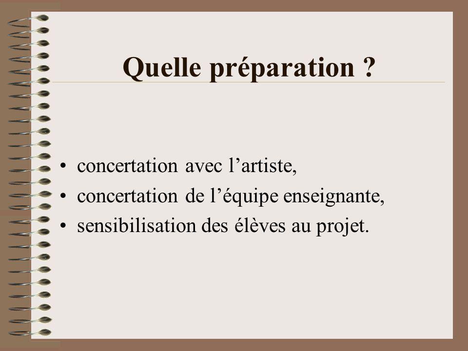 Quelle préparation ? concertation avec lartiste, concertation de léquipe enseignante, sensibilisation des élèves au projet.