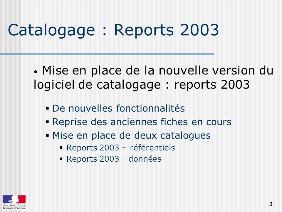 3 Catalogage : Reports 2003 Mise en place de la nouvelle version du logiciel de catalogage : reports 2003 De nouvelles fonctionnalités Reprise des anciennes fiches en cours Mise en place de deux catalogues Reports 2003 – référentiels Reports 2003 - données