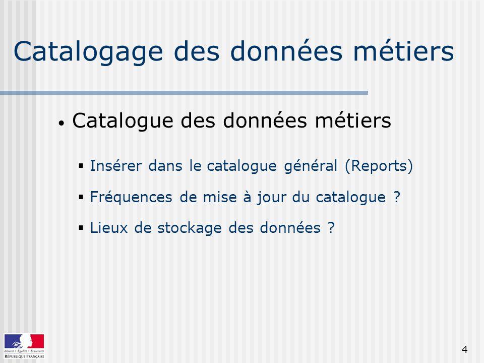 4 Catalogage des données métiers Catalogue des données métiers Insérer dans le catalogue général (Reports) Fréquences de mise à jour du catalogue .