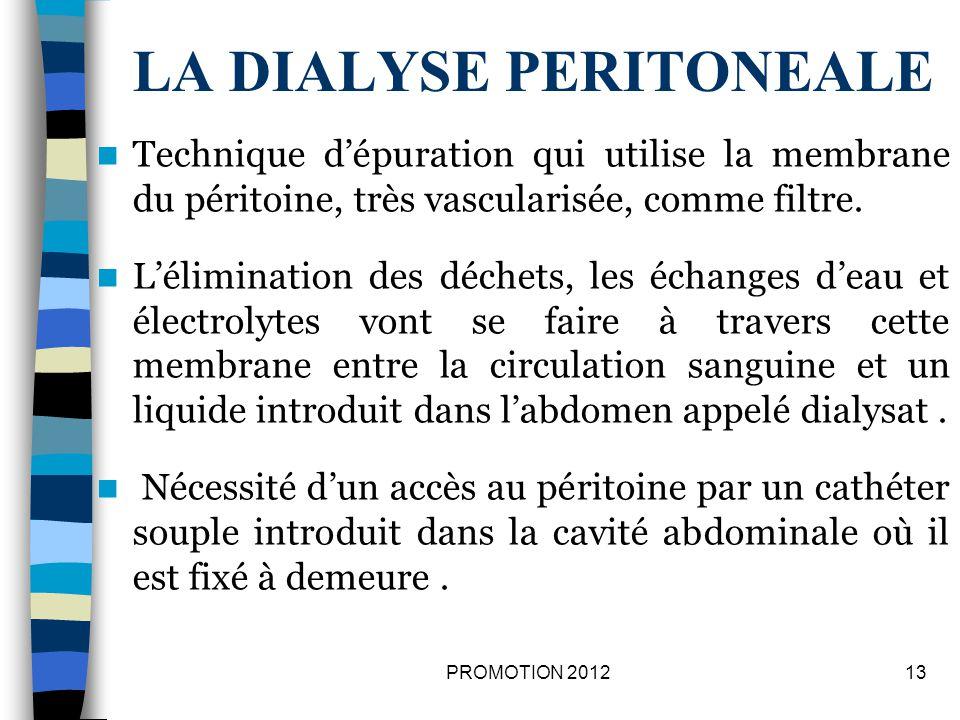 LES PRINCIPES DE LA DIALYSE PERITONEALE 14PROMOTION 2012