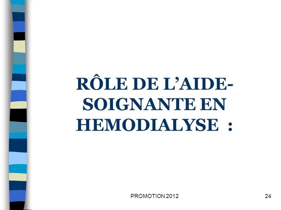 RÔLE DE LAIDE- SOIGNANTE EN HEMODIALYSE : 24PROMOTION 2012