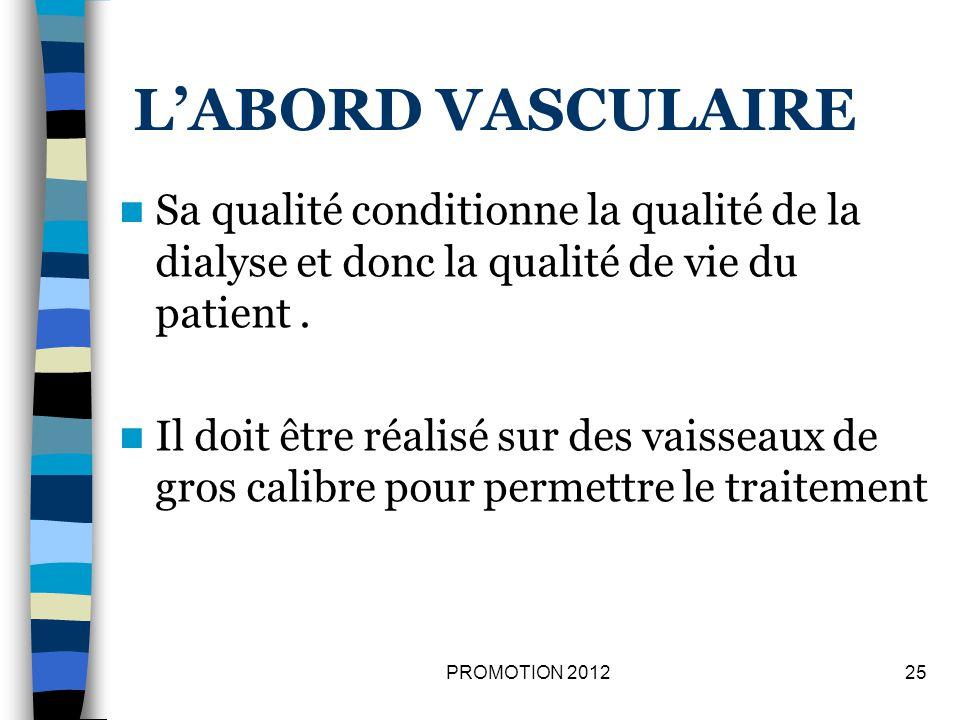 LABORD VASCULAIRE Sa qualité conditionne la qualité de la dialyse et donc la qualité de vie du patient. Il doit être réalisé sur des vaisseaux de gros