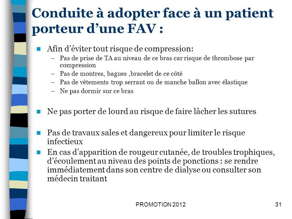 Conduite à adopter face à un patient porteur dune FAV : Afin déviter tout risque de compression: –Pas de prise de TA au niveau de ce bras car risque d