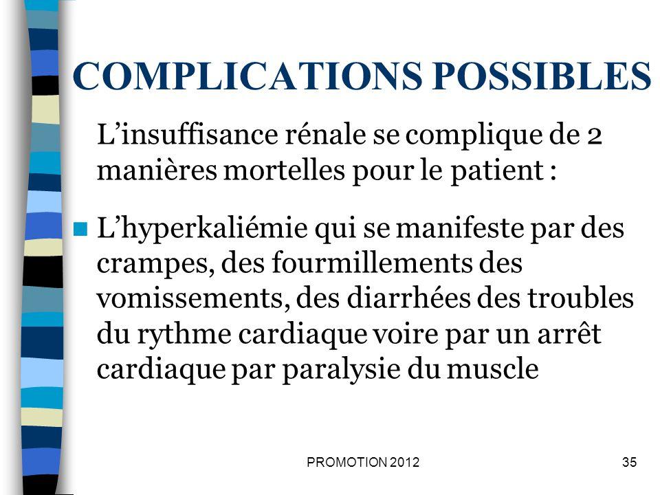 COMPLICATIONS POSSIBLES Linsuffisance rénale se complique de 2 manières mortelles pour le patient : Lhyperkaliémie qui se manifeste par des crampes, d