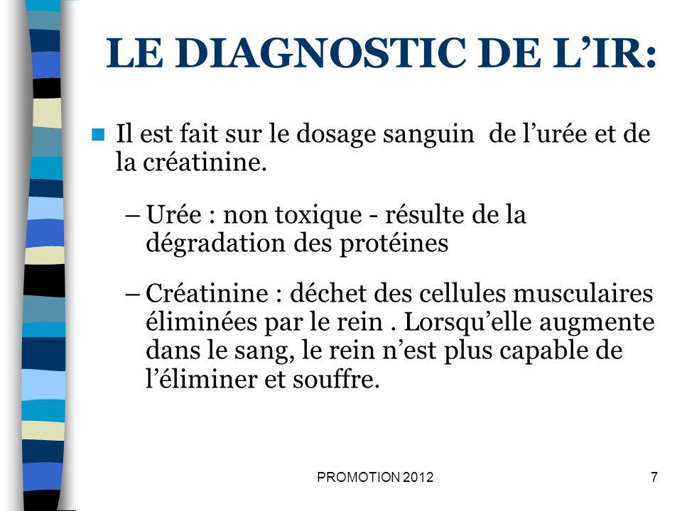LE DIAGNOSTIC DE LIR: Il est fait sur le dosage sanguin de lurée et de la créatinine. –Urée : non toxique - résulte de la dégradation des protéines –C