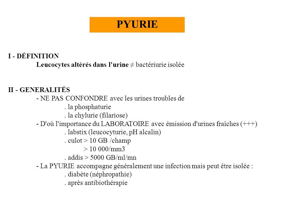 PYURIE I - DÉFINITION Leucocytes altérés dans l'urine bactériurie isolée II - GENERALITÉS - NE PAS CONFONDRE avec les urines troubles de. la phosphatu