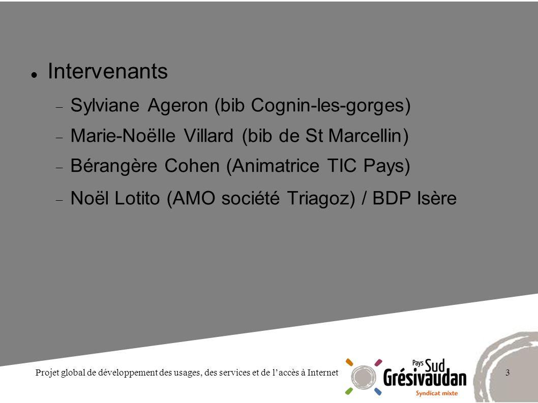 Projet global de développement des usages, des services et de laccès à Internet3 Intervenants Sylviane Ageron (bib Cognin-les-gorges) Marie-Noëlle Vil