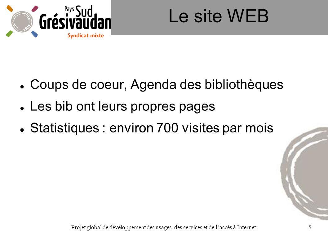 Projet global de développement des usages, des services et de laccès à Internet5 Le site WEB Coups de coeur, Agenda des bibliothèques Les bib ont leur
