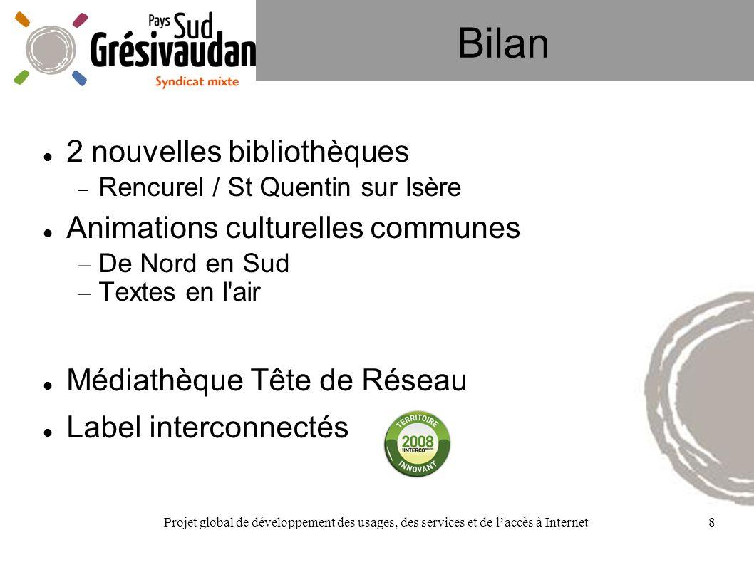 Projet global de développement des usages, des services et de laccès à Internet8 Bilan 2 nouvelles bibliothèques Rencurel / St Quentin sur Isère Anima