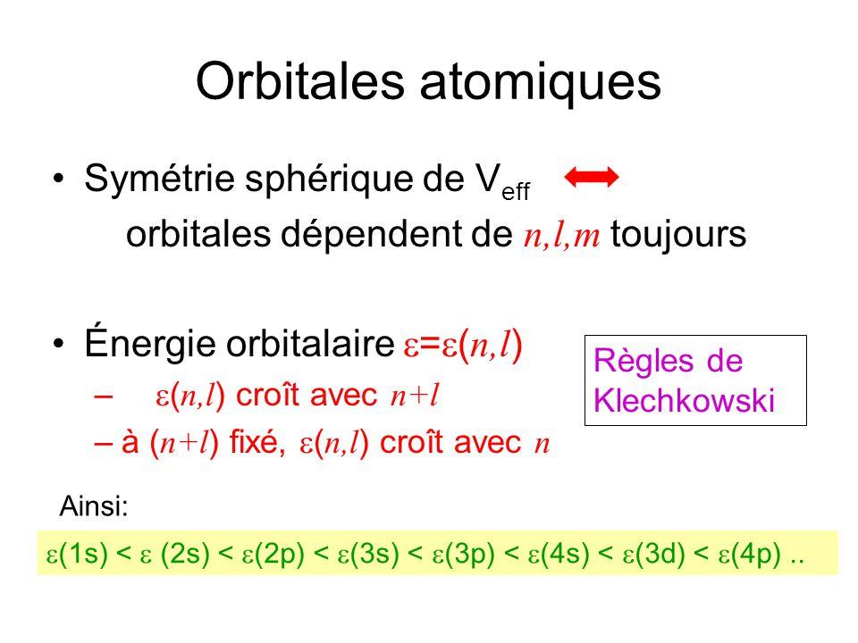Orbitales atomiques Symétrie sphérique de V eff orbitales dépendent de n,l,m toujours Énergie orbitalaire = ( n,l ) – ( n,l ) croît avec n+l –à ( n+l ) fixé, ( n,l ) croît avec n Règles de Klechkowski Ainsi: (1s) < (2s) < (2p) < (3s) < (3p) < (4s) < (3d) < (4p)..