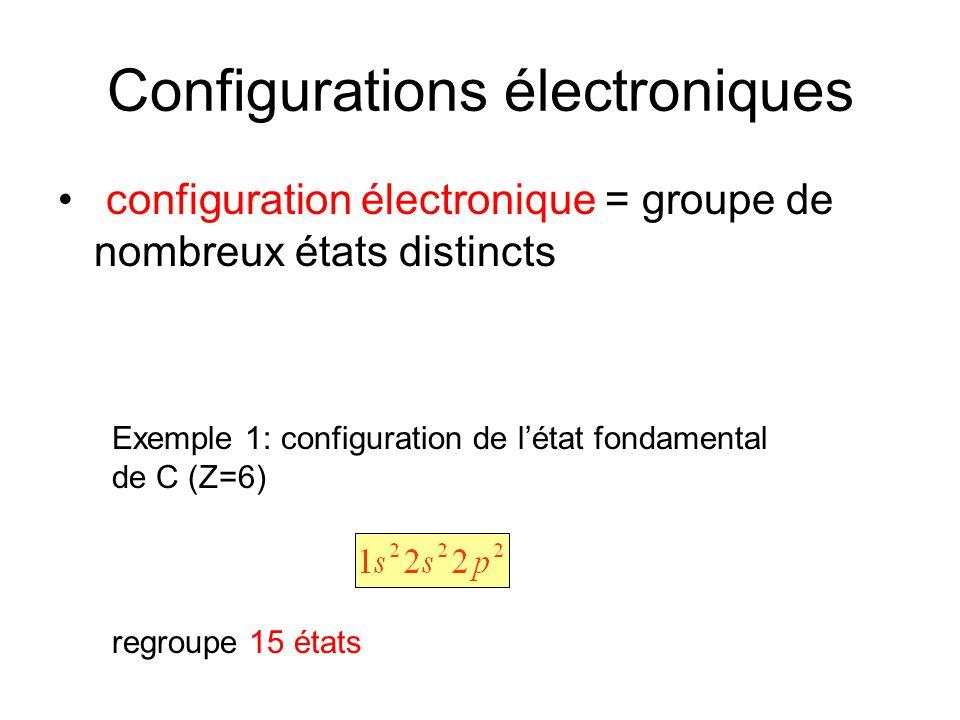 Configurations électroniques configuration électronique = groupe de nombreux états distincts Exemple 1: configuration de létat fondamental de C (Z=6)