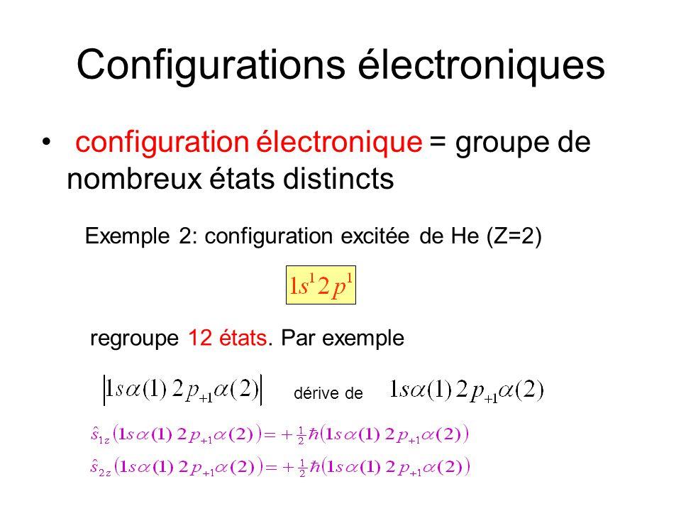Configurations électroniques configuration électronique = groupe de nombreux états distincts Exemple 2: configuration excitée de He (Z=2) regroupe 12