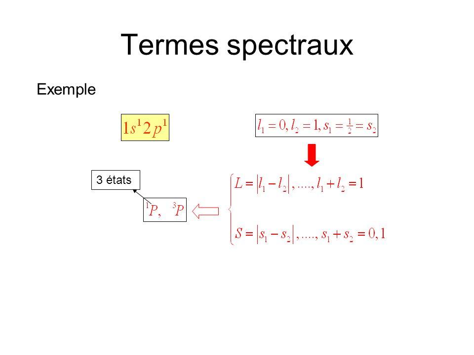 Termes spectraux Exemple 3 états