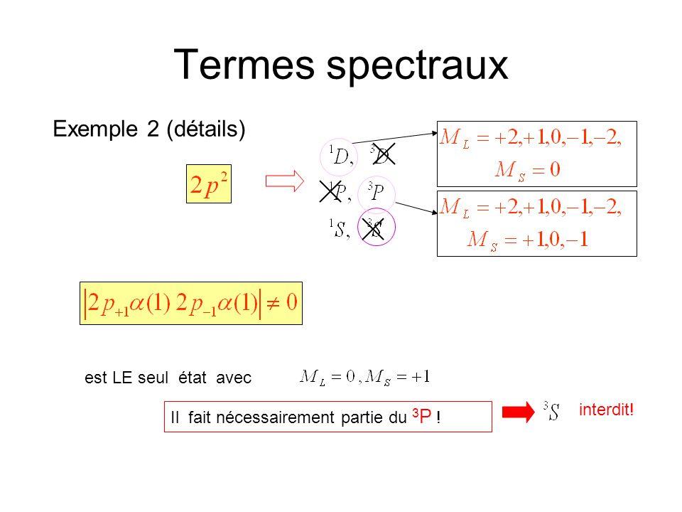 Termes spectraux Exemple 2 (détails) est LE seul état avec Il fait nécessairement partie du 3 P ! interdit!