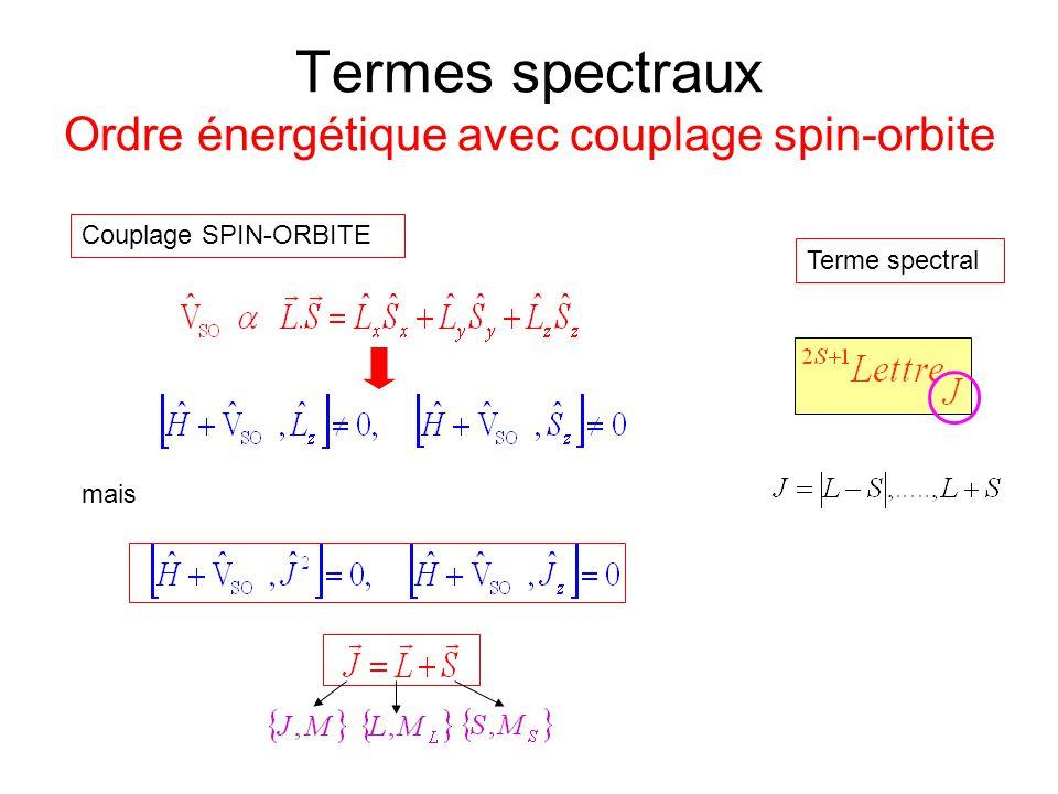 Termes spectraux Ordre énergétique avec couplage spin-orbite Couplage SPIN-ORBITE mais Terme spectral