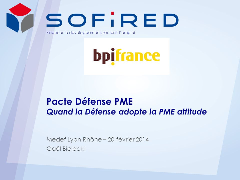 Financer le développement, soutenir lemploi Pacte Défense PME Quand la Défense adopte la PME attitude Medef Lyon Rhône – 20 février 2014 Gaël Bielecki