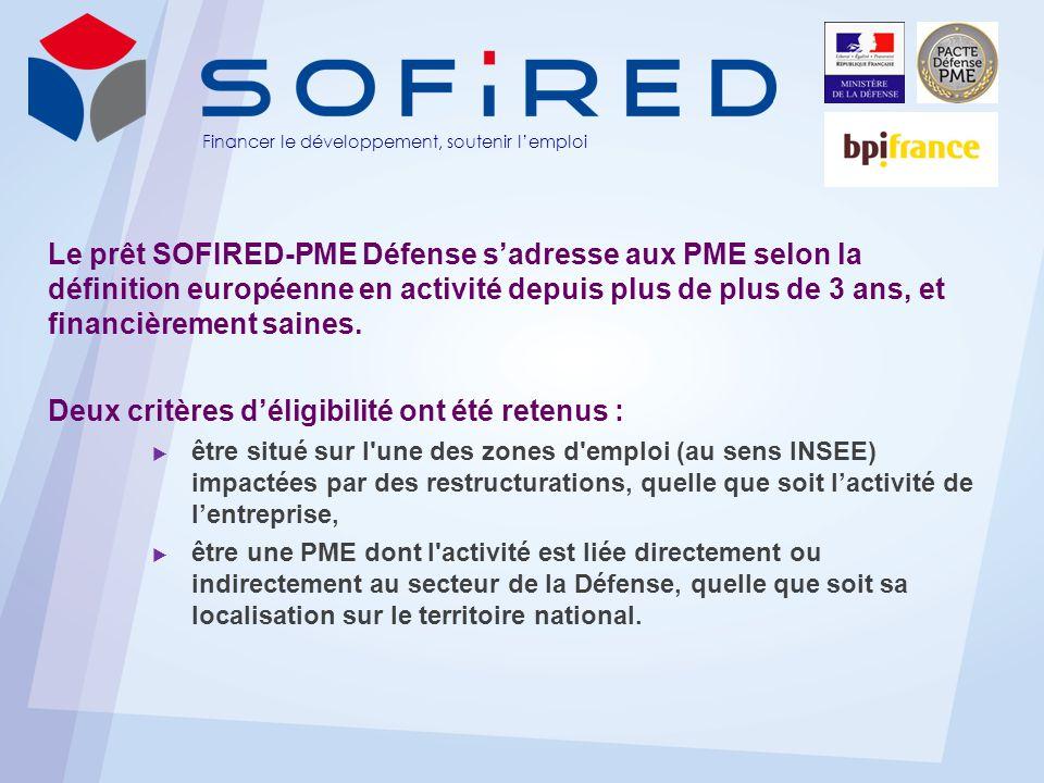 Financer le développement, soutenir lemploi Le prêt SOFIRED-PME Défense sadresse aux PME selon la définition européenne en activité depuis plus de plus de 3 ans, et financièrement saines.