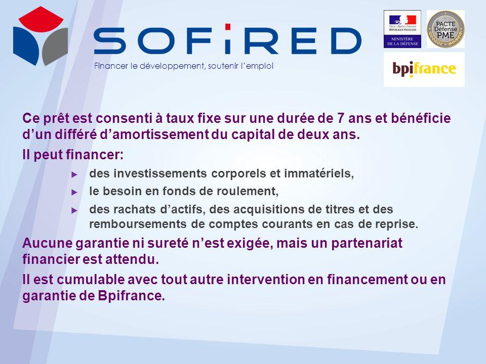 LE PRÊT SOFIRED PME DEFENSE est disponible sur http://sofired.bpifrance.fr Gaël Bielecki LD : 01 44 11 75 88 – Mob : 06 85 07 66 91 Email : gael.bielecki@sofired.frgael.bielecki@sofired.fr 170, rue de Grenelle – 75007 Paris Tél : 01 44 11 75 85 – Fax : 01 45 50 21 01 www.sofired.