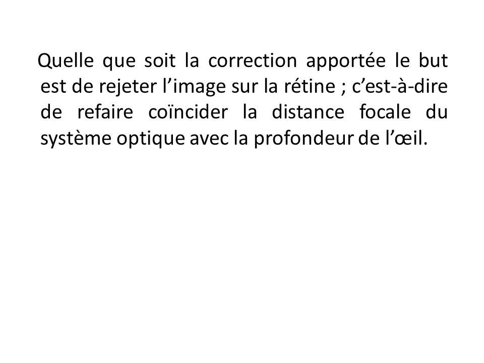 Quelle que soit la correction apportée le but est de rejeter limage sur la rétine ; cest-à-dire de refaire coïncider la distance focale du système opt