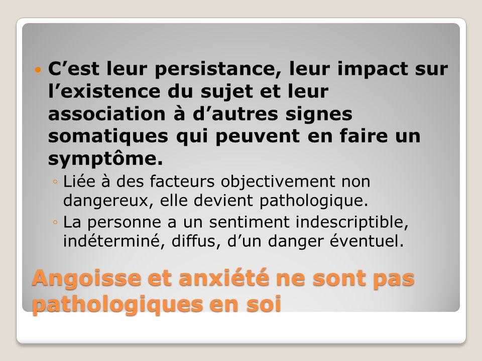 Angoisse et anxiété ne sont pas pathologiques en soi Cest leur persistance, leur impact sur lexistence du sujet et leur association à dautres signes s