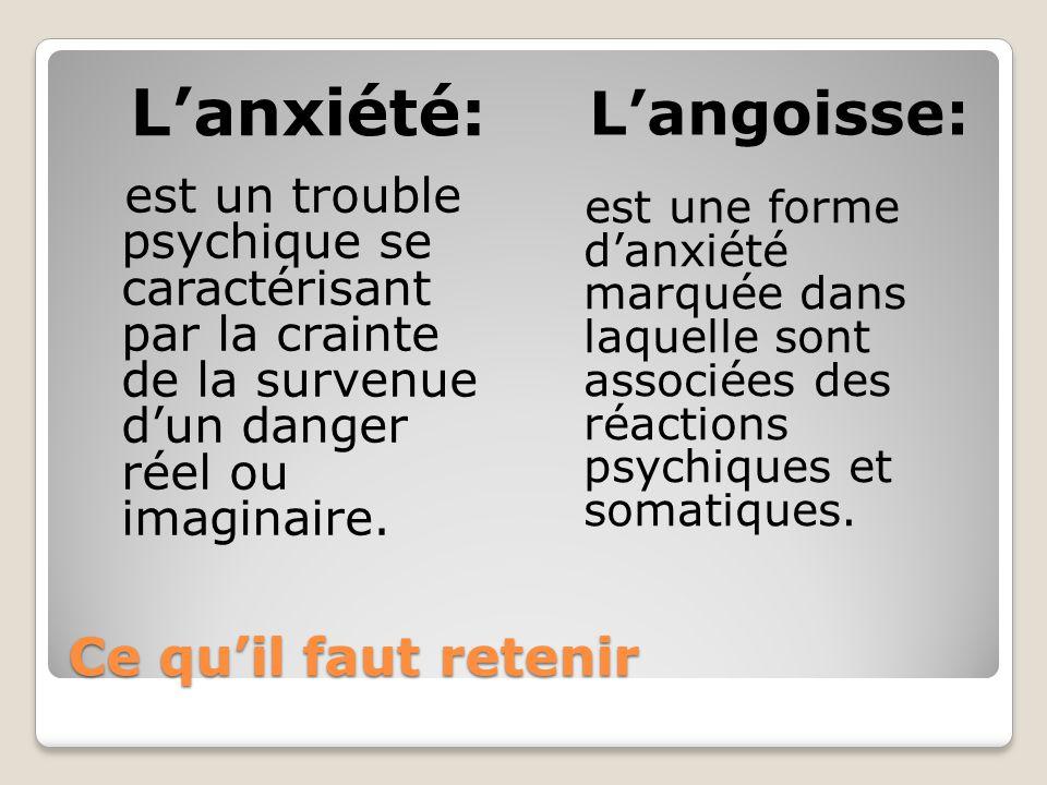 Ce quil faut retenir Lanxiété: Langoisse: est un trouble psychique se caractérisant par la crainte de la survenue dun danger réel ou imaginaire. est u