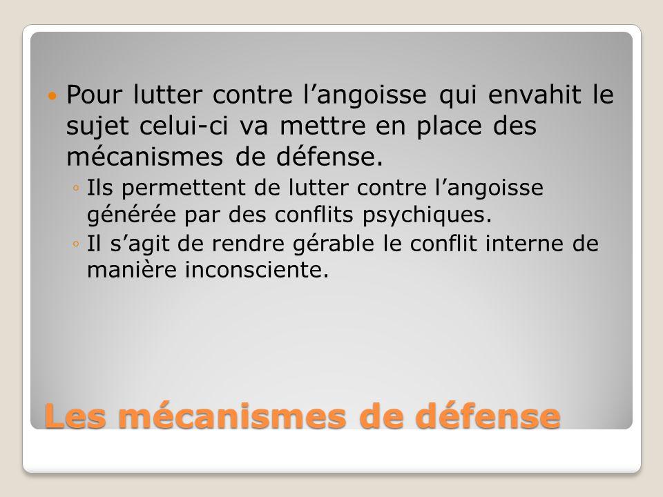 Les mécanismes de défense Pour lutter contre langoisse qui envahit le sujet celui-ci va mettre en place des mécanismes de défense. Ils permettent de l