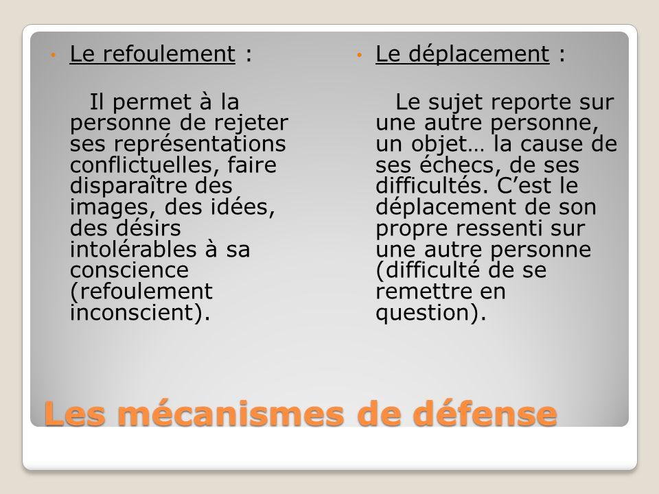 Les mécanismes de défense Le refoulement : Il permet à la personne de rejeter ses représentations conflictuelles, faire disparaître des images, des id