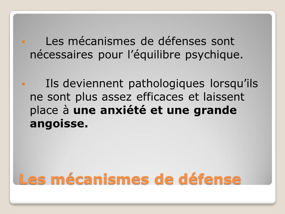 Les mécanismes de défense Les mécanismes de défenses sont nécessaires pour léquilibre psychique. Ils deviennent pathologiques lorsquils ne sont plus a