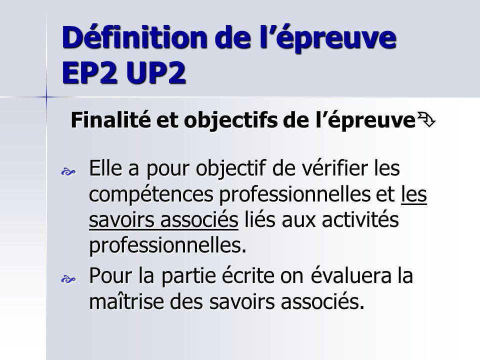 Définition de lépreuve EP2 UP2 Finalité et objectifs de lépreuve Finalité et objectifs de lépreuve Elle a pour objectif de vérifier les compétences pr