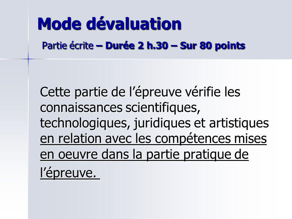 Mode dévaluation Partie écrite – Durée 2 h.30 – Sur 80 points Cette partie de lépreuve vérifie les connaissances scientifiques, technologiques, juridi