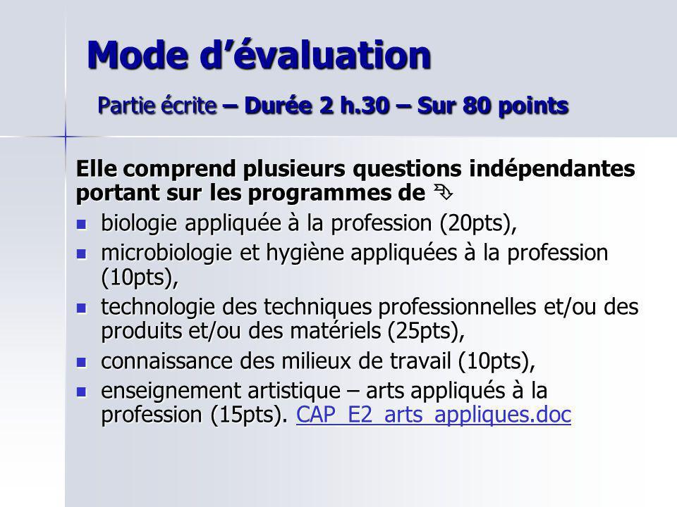 Mode dévaluation Partie écrite – Durée 2 h.30 – Sur 80 points Elle comprend plusieurs questions indépendantes portant sur les programmes de Elle compr
