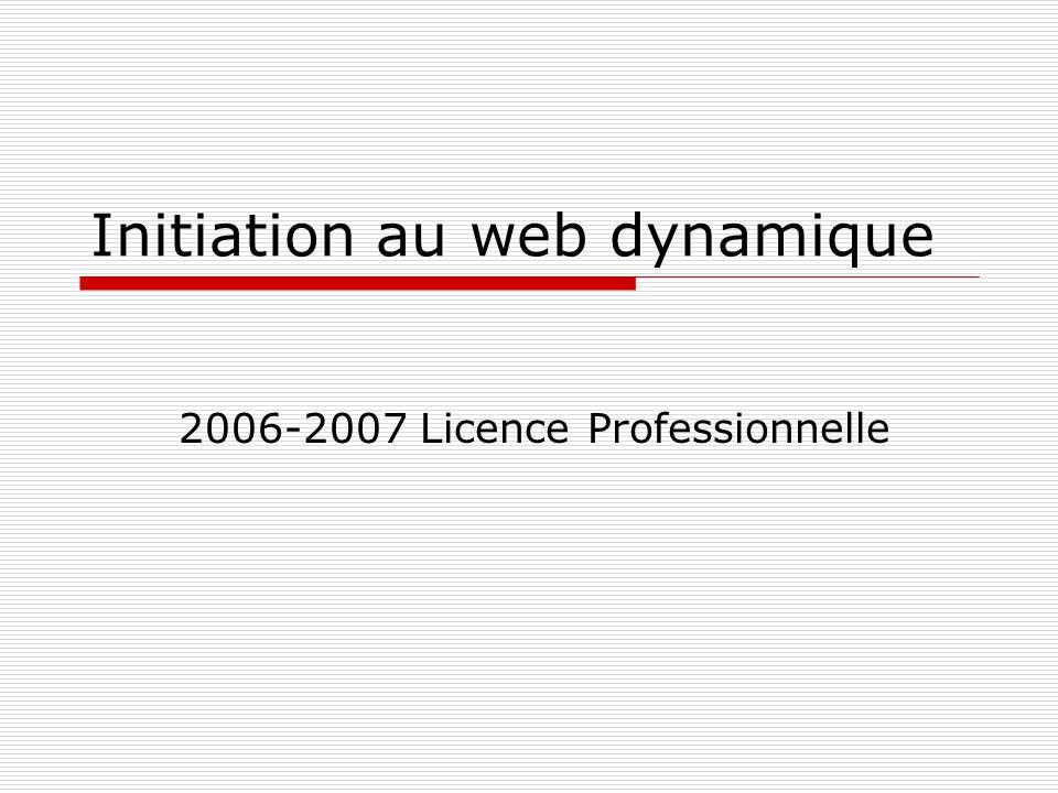 Initiation au web dynamique12 Protocole HTTP Les codes de réponses qui sont utilisés dans les réponses HTTP sont constitués de trois chiffres : Code RetourDescription 10XInformation (version 1.1) 20XRéussite 30XRedirection 40XErreur imputable au client 50XErreur imputable au serveur