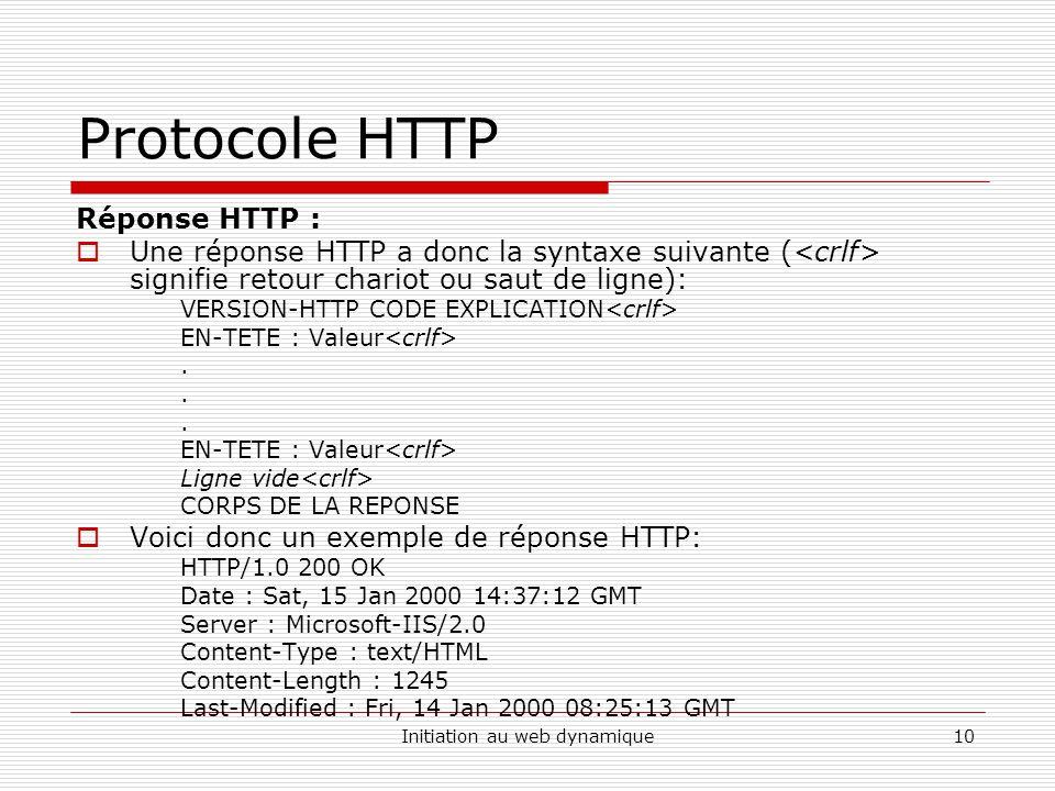 Initiation au web dynamique10 Protocole HTTP Réponse HTTP : Une réponse HTTP a donc la syntaxe suivante ( signifie retour chariot ou saut de ligne): V