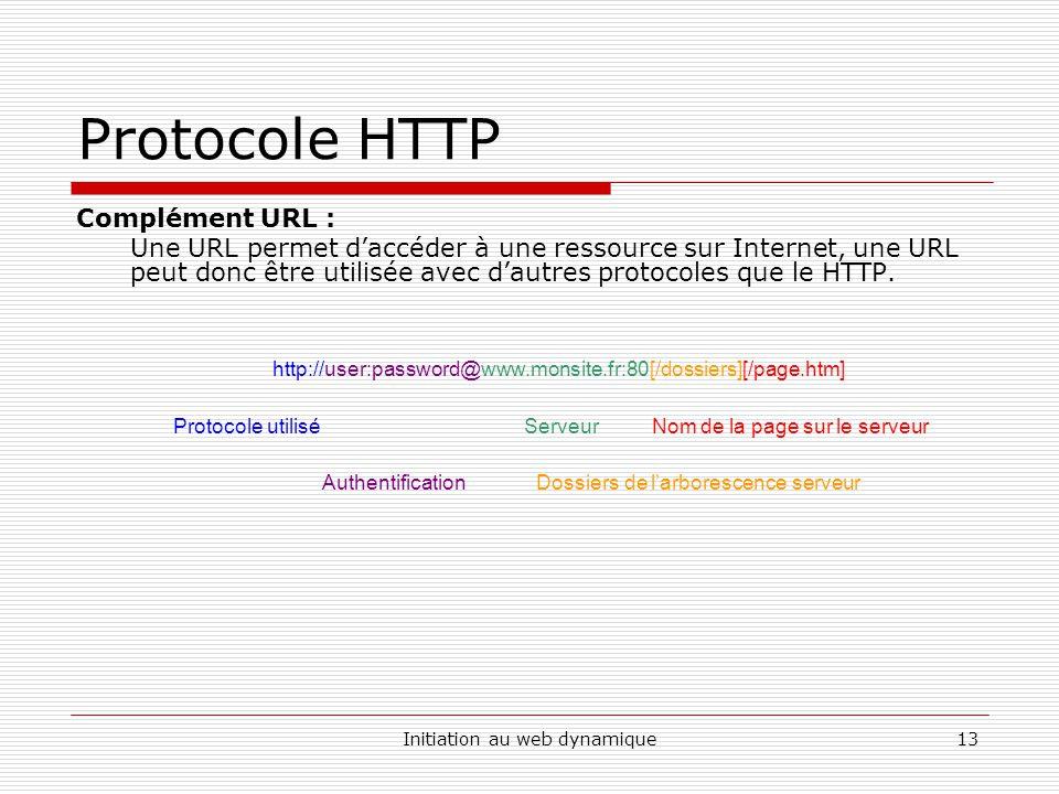 Initiation au web dynamique13 Protocole HTTP Complément URL : Une URL permet daccéder à une ressource sur Internet, une URL peut donc être utilisée av