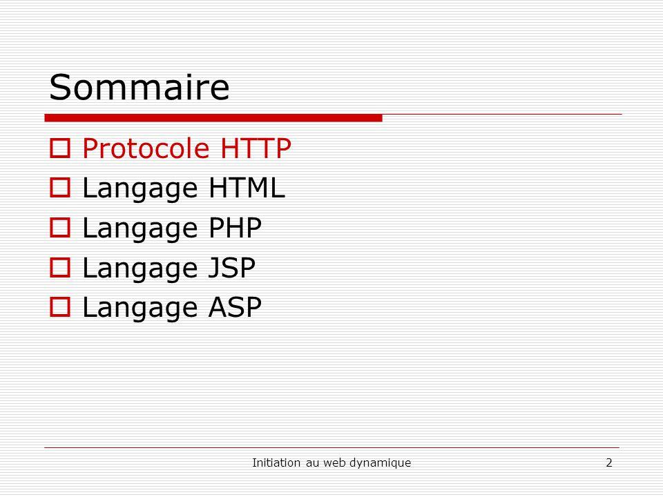 Initiation au web dynamique3 Protocole HTTP HTTP : protocole de larchitecture TCP/IP HTTP, littéralement « HyperText Transport Protocol » a pour objet le transfert de fichiers hypertextes entre un serveur et un client.