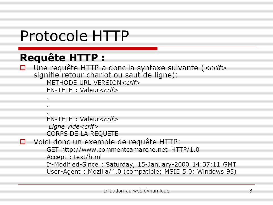 Initiation au web dynamique8 Protocole HTTP Requête HTTP : Une requête HTTP a donc la syntaxe suivante ( signifie retour chariot ou saut de ligne): ME