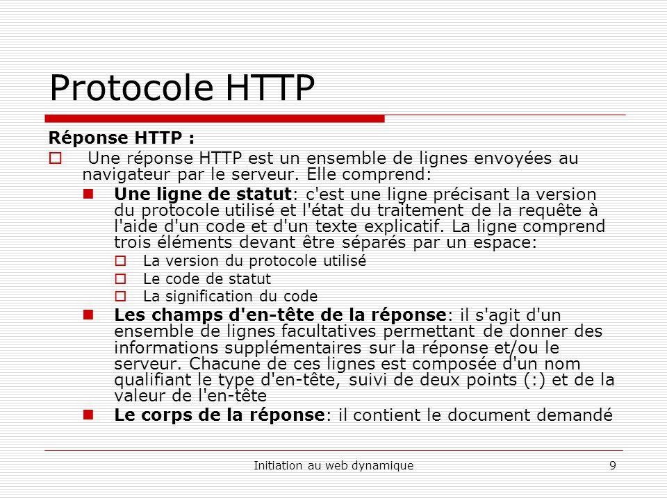 Initiation au web dynamique10 Protocole HTTP Réponse HTTP : Une réponse HTTP a donc la syntaxe suivante ( signifie retour chariot ou saut de ligne): VERSION-HTTP CODE EXPLICATION EN-TETE : Valeur.