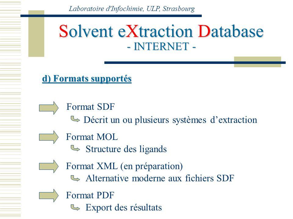 Laboratoire d'Infochimie, ULP, Strasbourg Solvent eXtraction Database - INTERNET - d) Formats supportés Format SDF Format MOL Structure des ligands Dé