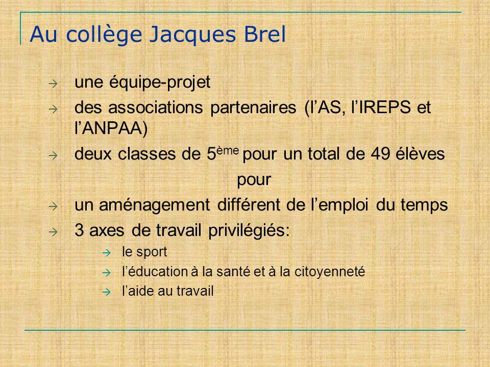 Au collège Jacques Brel une équipe-projet des associations partenaires (lAS, lIREPS et lANPAA) deux classes de 5 ème pour un total de 49 élèves pour un aménagement différent de lemploi du temps 3 axes de travail privilégiés: le sport léducation à la santé et à la citoyenneté laide au travail