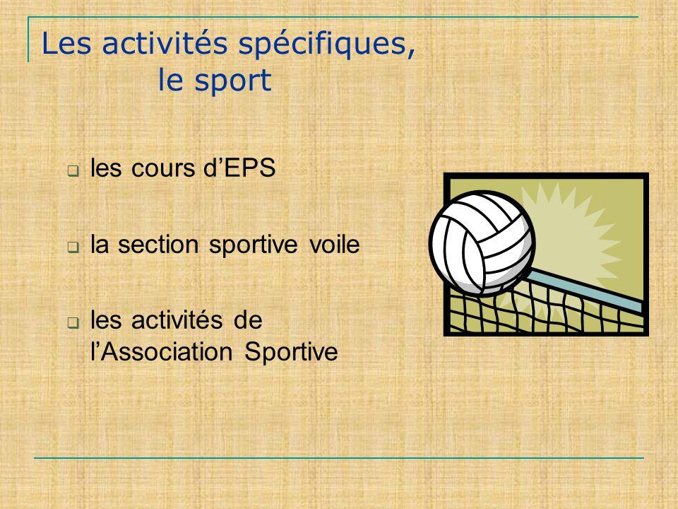 Les activités spécifiques, le sport les cours dEPS la section sportive voile les activités de lAssociation Sportive