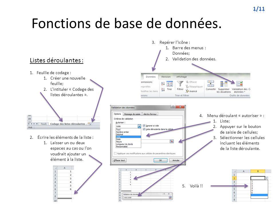 Fonctions de base de données. Listes déroulantes : 3. Repérer licône : 1.Barre des menus : Données; 2.Validation des données. 1.Feuille de codage : 1.