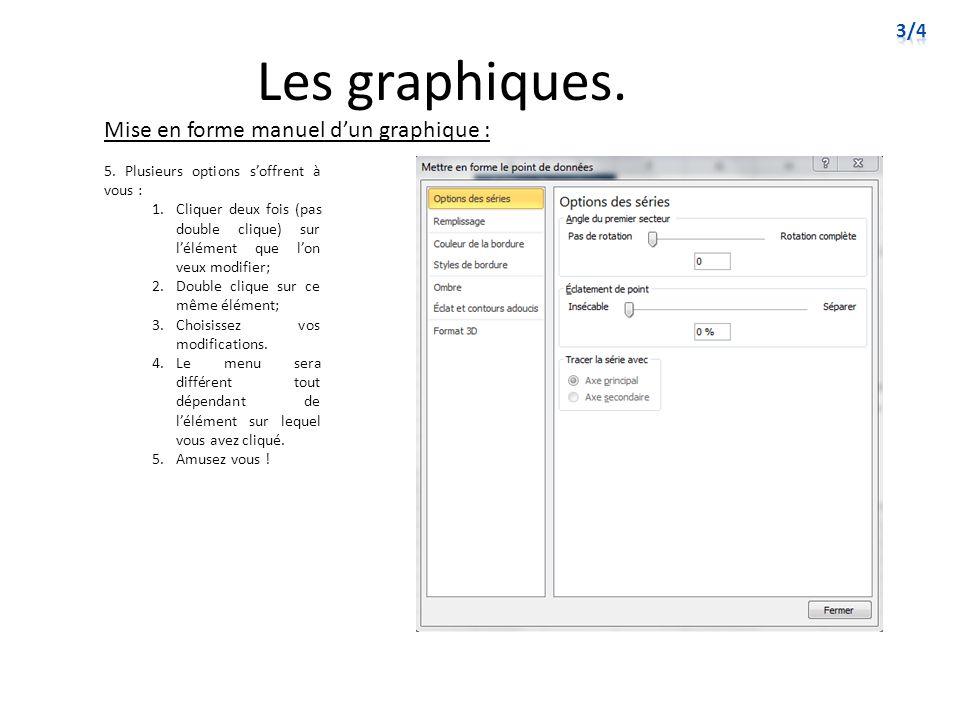 Les graphiques. Mise en forme manuel dun graphique : 5. Plusieurs options soffrent à vous : 1.Cliquer deux fois (pas double clique) sur lélément que l